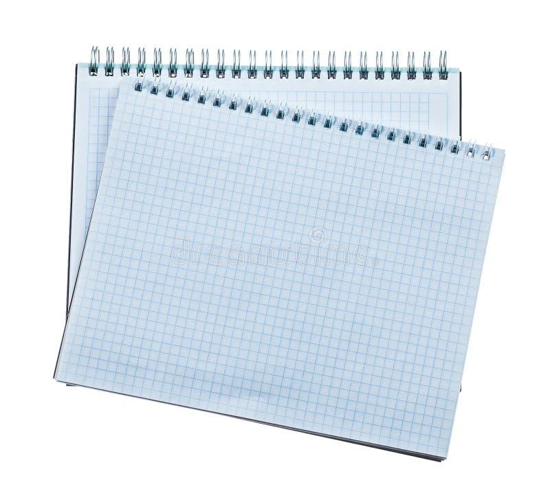 Pustych miejsc ślimakowaci notepads odizolowywający na bielu fotografia royalty free