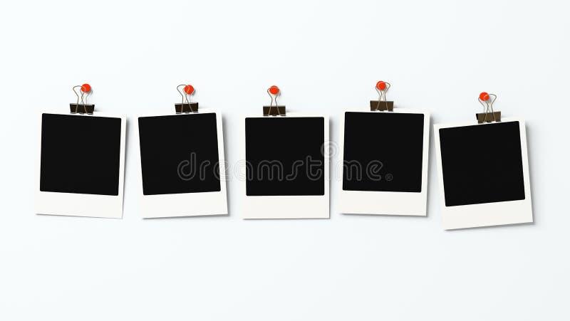 pustych miejsc pięć polaroidu ściany ilustracji