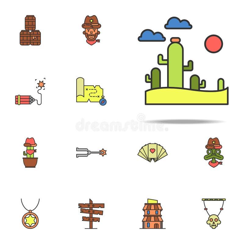 pustyni barwiona ikona Dziki Zachodni ikony ogólnoludzki ustawiający dla sieci i wiszącej ozdoby ilustracji