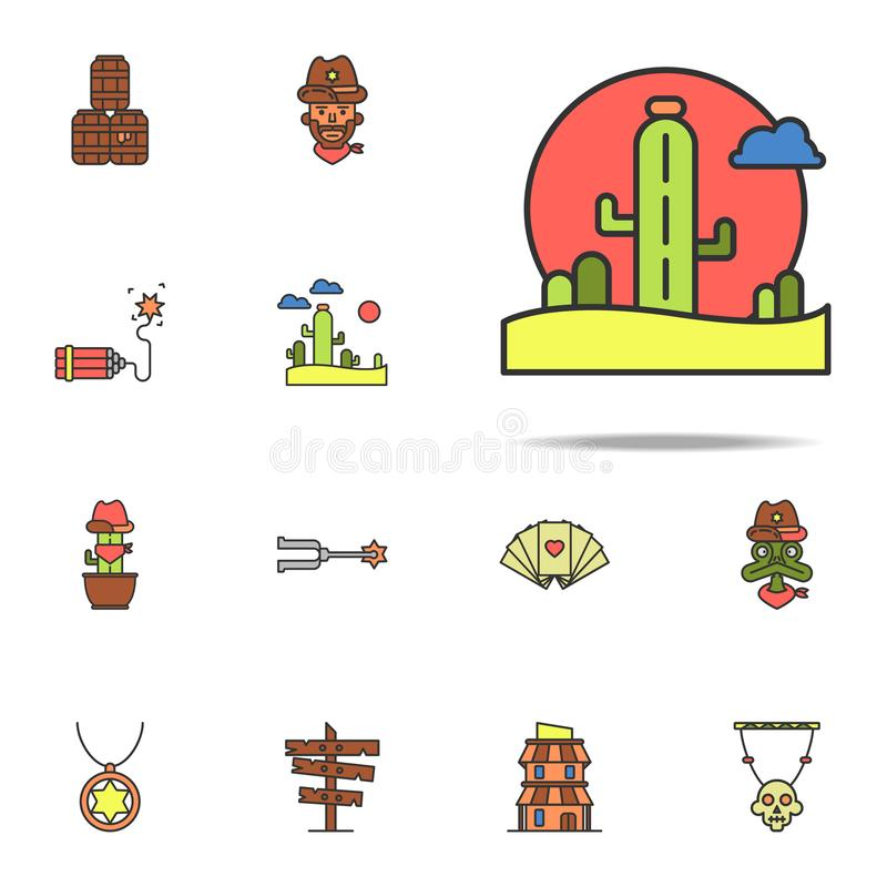 pustyni barwiona ikona Dziki Zachodni ikony ogólnoludzki ustawiający dla sieci i wiszącej ozdoby ilustracja wektor