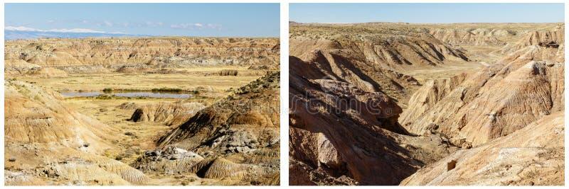 Pustyni wzgórzy stawu wody suchy niewygładzony kolaż obrazy stock