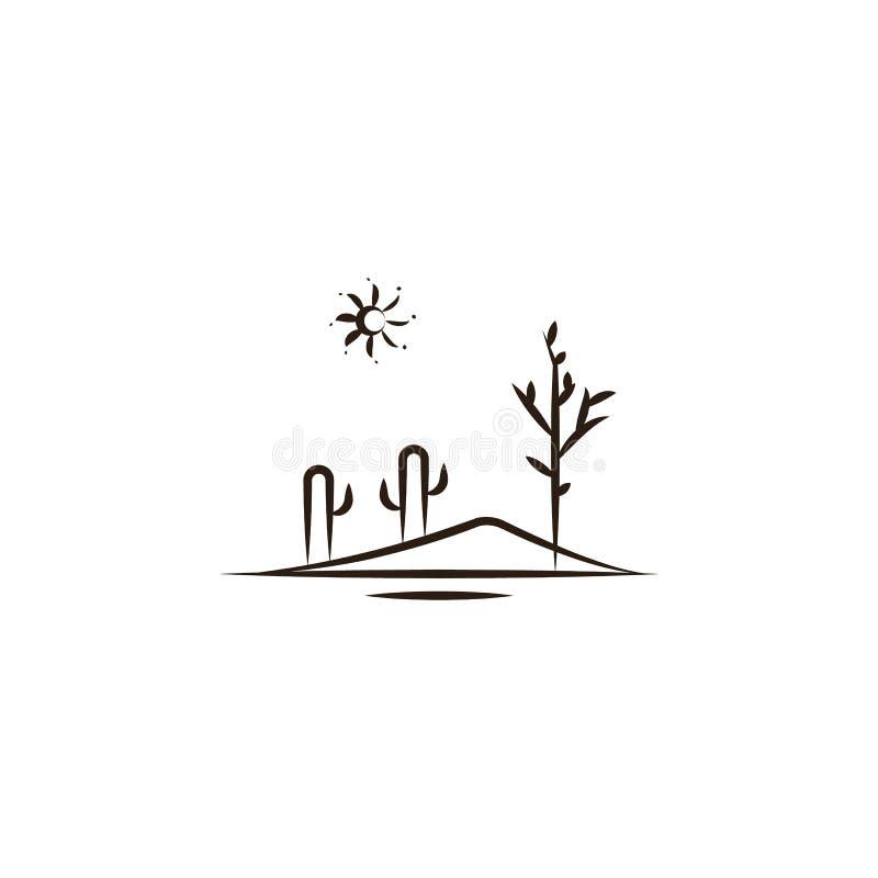 pustynia, krajobrazowa ikona Element pustynna ikona dla mobilnych pojęcia i sieci apps Ręka remisu pustynia, krajobrazowa ikona m ilustracji