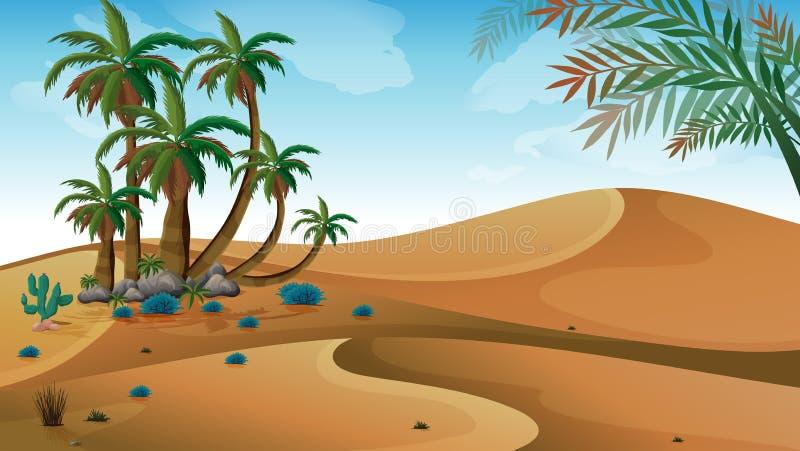 Pustynia z drzewkami palmowymi ilustracja wektor