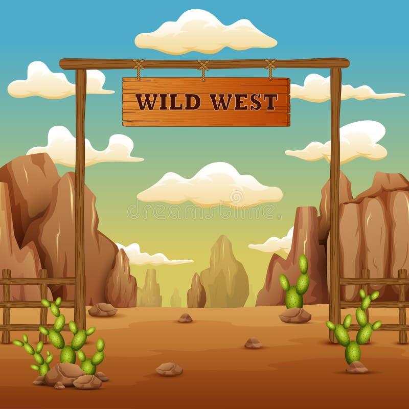 Pustynna brama krajobrazu kreskówka w dzikim zachodzie royalty ilustracja