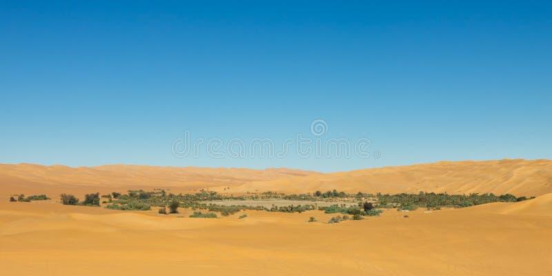 pustynna jeziorna Libya mandara oaza Sahara zdjęcie royalty free