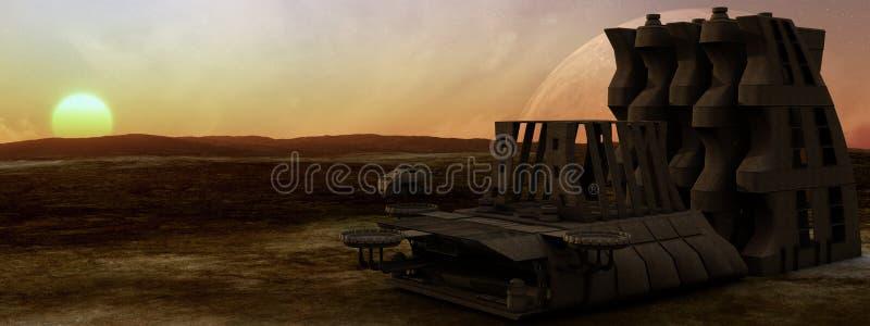 Pustynna planety stacja kosmiczna ilustracji