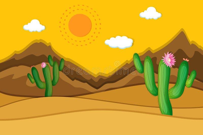 Pustynna scena z kaktusem w przedpolu royalty ilustracja