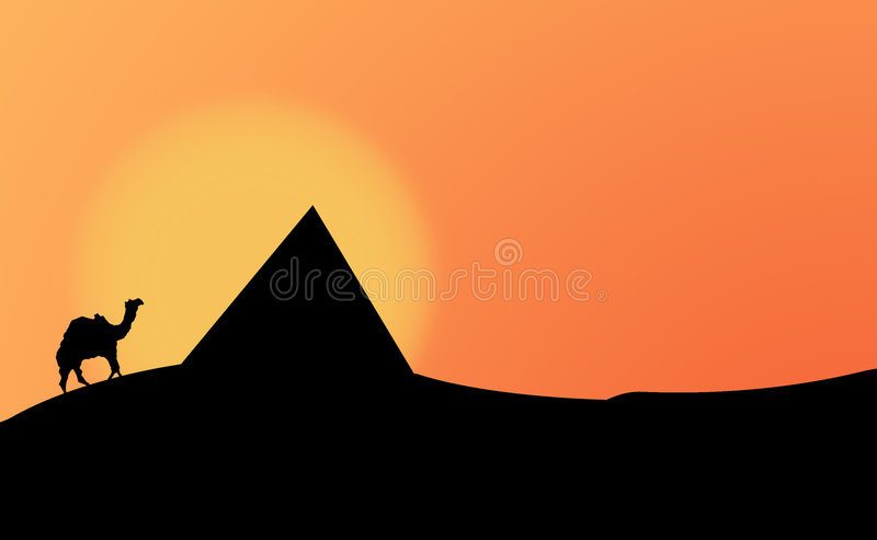 pustynna sylwetka ilustracja wektor