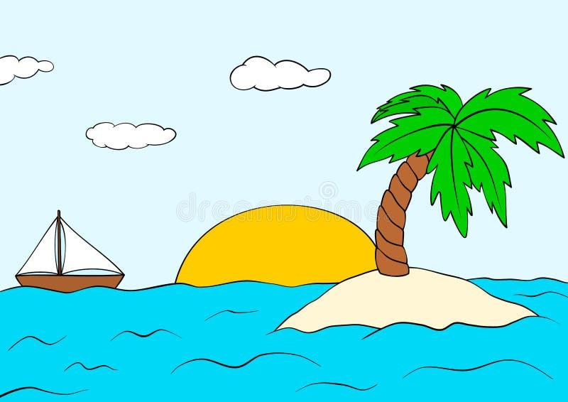 Pustynna wyspa z drzewkiem palmowym i statkiem chmur ciemnego pola krajobrazu nieba lato zmierzch Wektorowy tropikalny wyspy clip ilustracja wektor