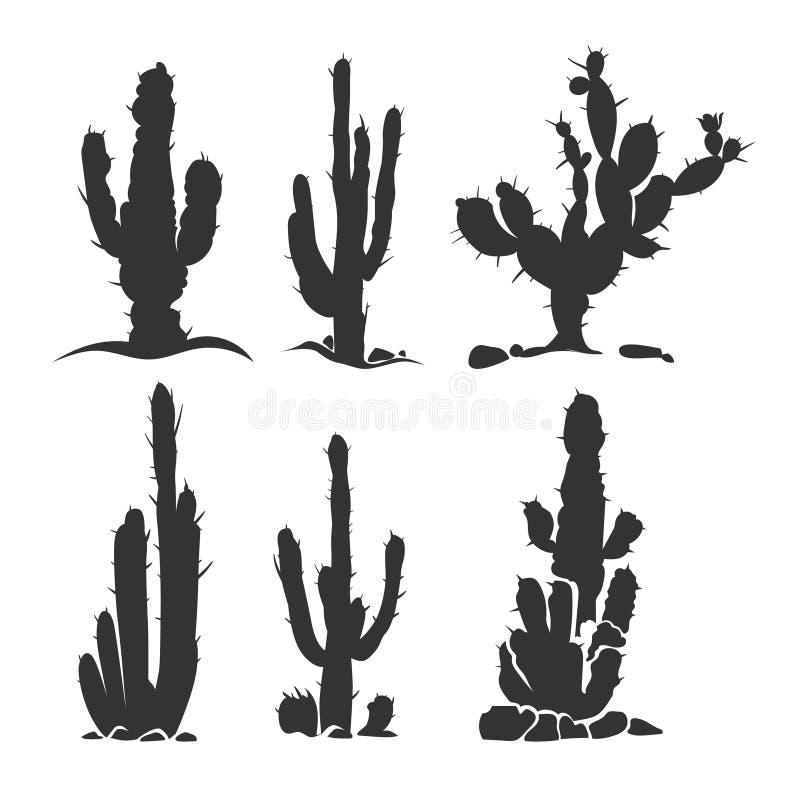 Pustynne kaktusowe wektorowe sylwetek rośliny na bielu royalty ilustracja