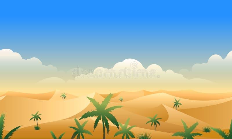 Pustynnej panoramy horyzontalny bezszwowy wzór ilustracji