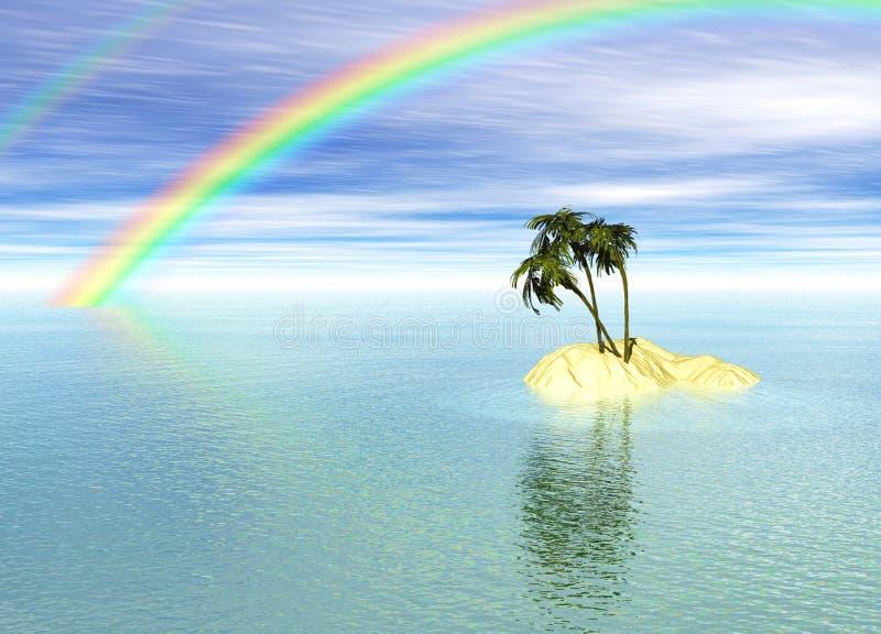 pustynnej wyspy palmowej tęczy romantyczny drzewo royalty ilustracja