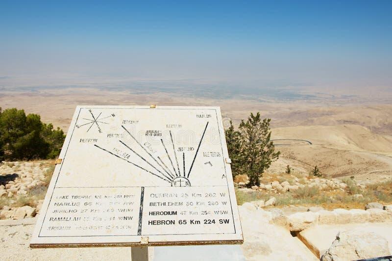 Pustynny góra krajobraz z plakietą pokazuje odległości od góry Nebo różnorodne lokacje przy górą Nebo, Jordania zdjęcia stock