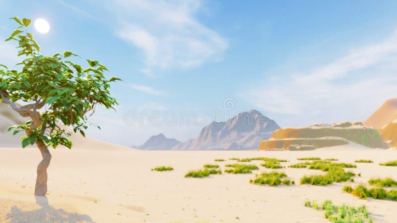 Pustynny horyzont jasny dzie? Góry w odległości, piasek diunach i niebieskim niebie, pi?kna sceneria Piasek diuny i gorący niebo ilustracji