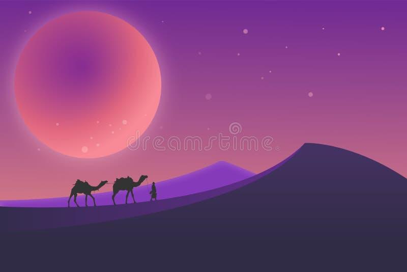 Pustynny krajobraz podczas nocy ilustracja wektor