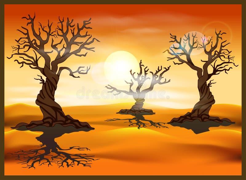 Pustynny krajobraz z nieżywymi drzewami ilustracji