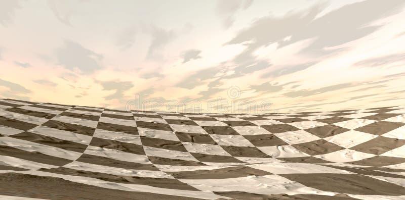 Pustynny Szachowej deski krajobraz royalty ilustracja