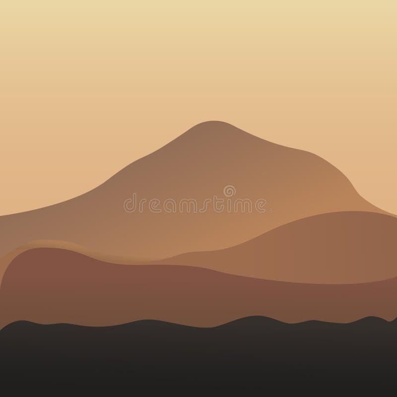 Pustynnych diun egipcjanina krajobrazu wektorowy tło Piasek w natury ilustraci ilustracji