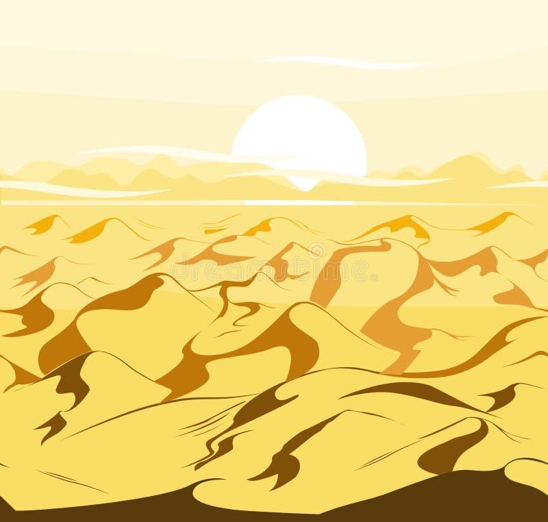 Pustynnych diun egipcjanina krajobrazu wektorowy tło Piasek w natury ilustraci royalty ilustracja