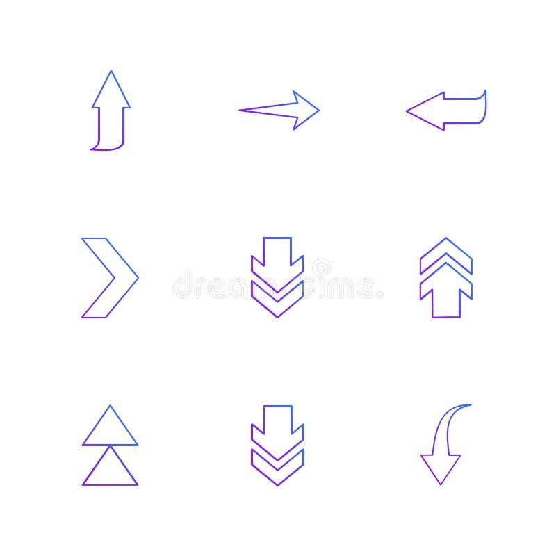 puszek, w górę, sztuka, strzała, kierunki prawi, lewy, pointer ilustracja wektor