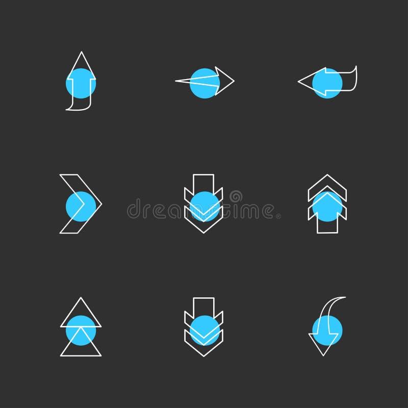 puszek, w górę, sztuka, strzała, kierunki prawi, lewy, pointer ilustracji