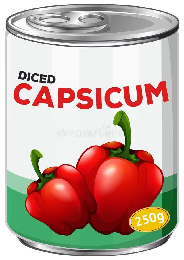 A puszka Diced Capsicum ilustracji