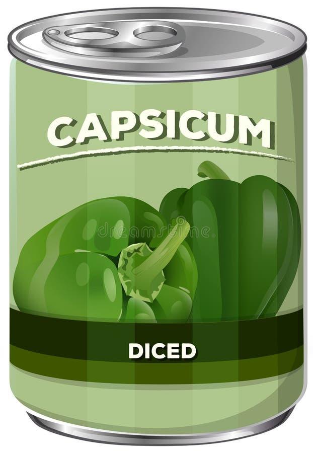 A puszka Diced Capsicum ilustracja wektor