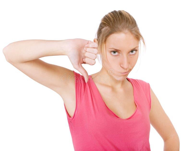 Download Puszka Dosyć Kciuka Kobiety Młode Obraz Stock - Obraz złożonej z zły, atrakcyjny: 13334367