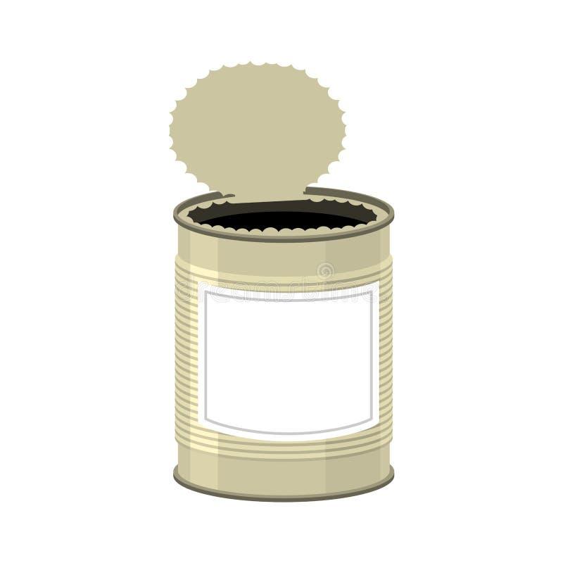 puszka otwierają rozpieczętowany Blaszany bank na białym tle royalty ilustracja