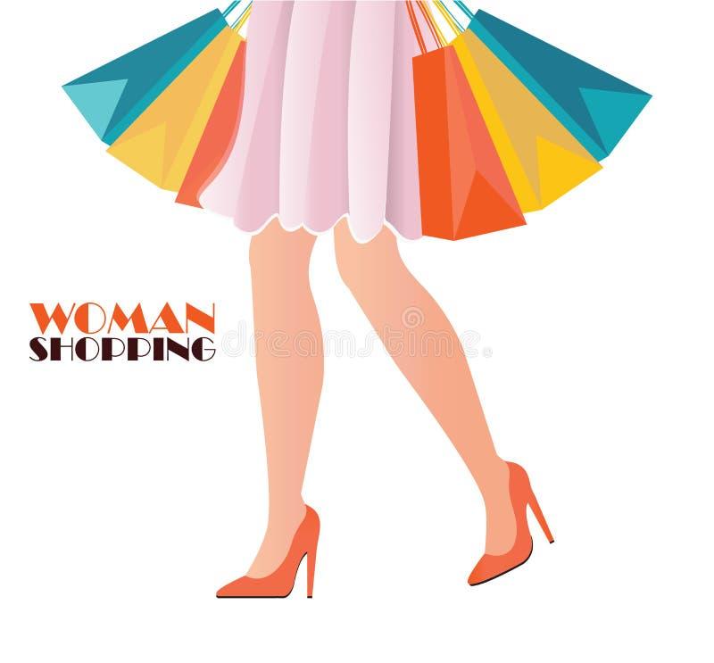 Puszka widok jest ubranym szpilki buty zakupy kobieta royalty ilustracja