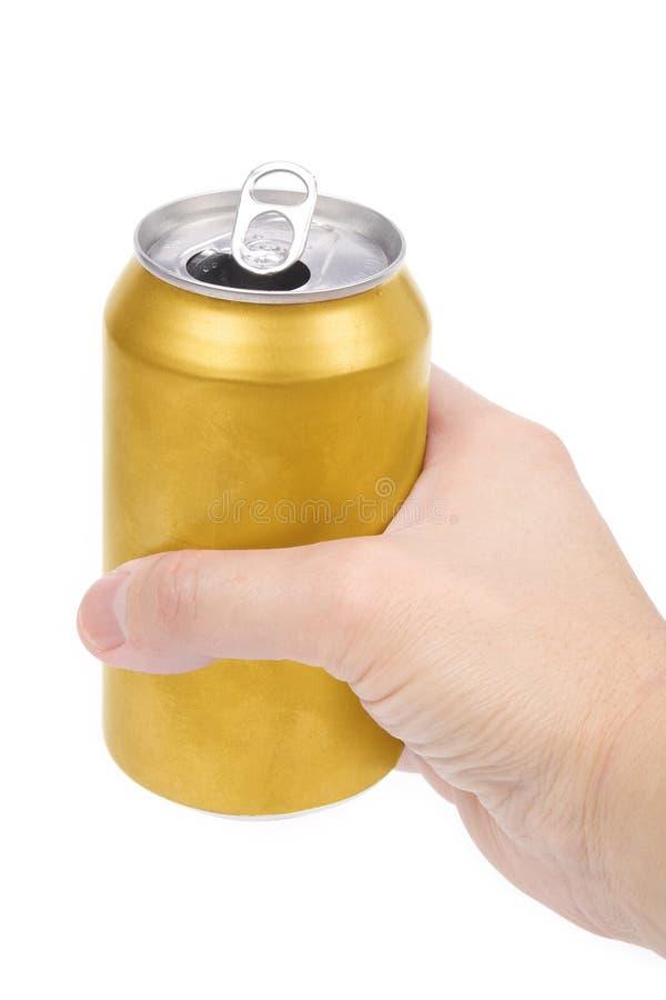 puszki piwnej żółty obraz stock