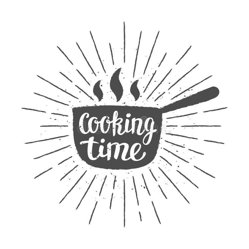 Puszkuje silhoutte z literowaniem i rocznika słońca promieniami - Kulinarny czas - royalty ilustracja