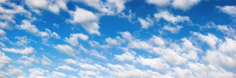 Puszysty biel chmurnieje na niebieskie niebo panoramie zdjęcie stock