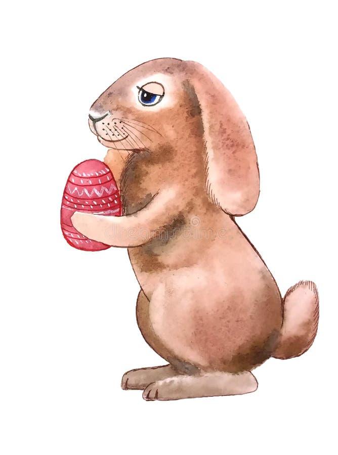 Puszysty brzoskwinia królik z Wielkanocnym czerwonym jajkiem royalty ilustracja