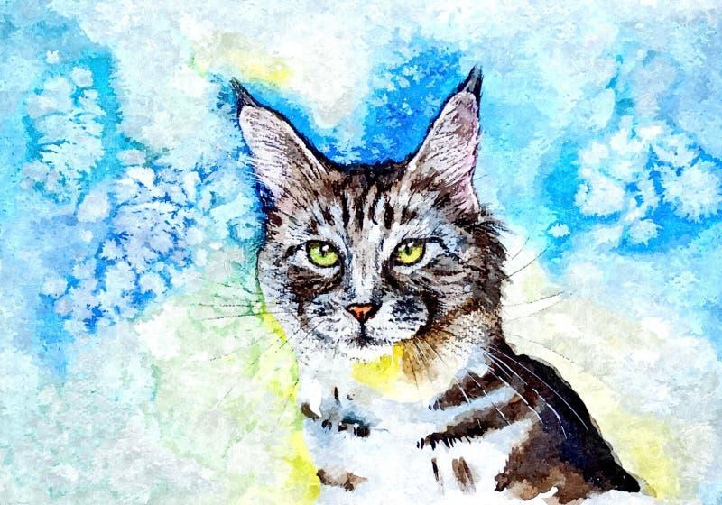 Puszysty Syberyjski kot Portret Malować mokrą akwarelę na papierze Naiwna sztuka Rysunkowa akwarela na papierze ilustracja wektor