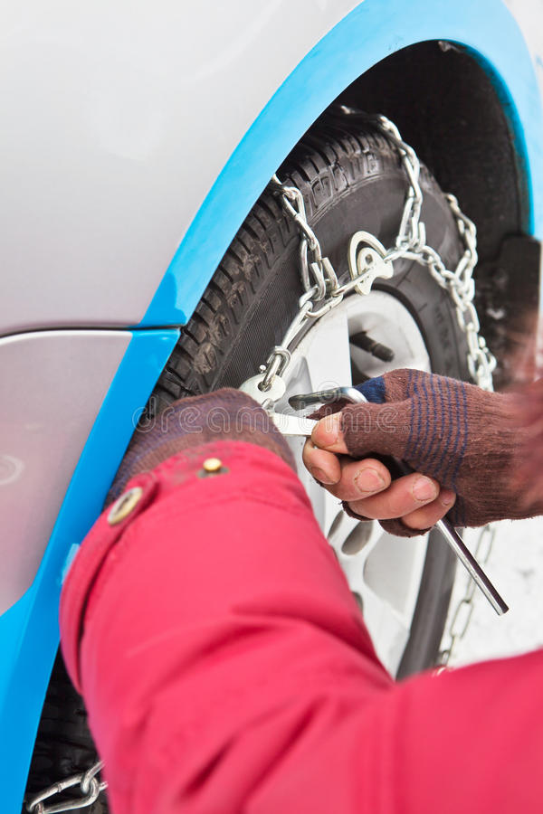 Download Put On Antiskid Iron Chain For Wheel Stock Image - Image: 22637389