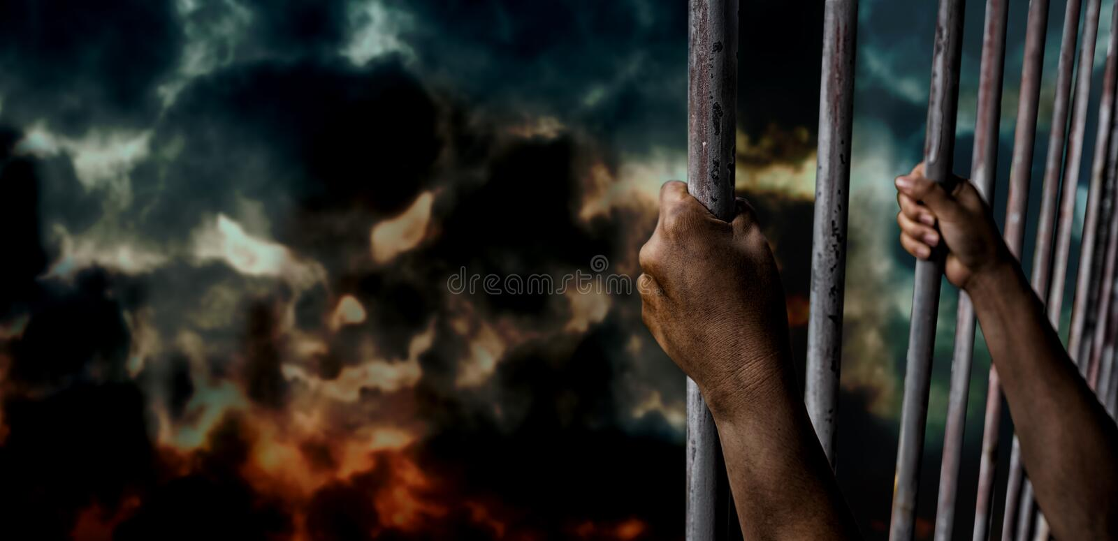 Put or keep in prison. Halloween and Mental health concept. Put or keep in prison. Thief and crime. Halloween and Mental health concept stock images