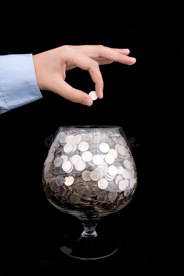 Free Put Money Into Glass Royalty Free Stock Photos - 7640948