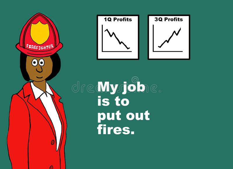 Put Out Fires. Business illustration showing a businesswoman wearing a fireman's hat with the words, My job is to put out fires royalty free illustration