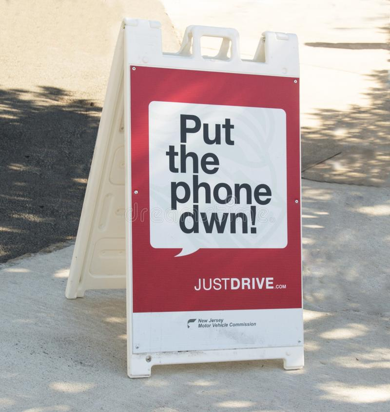 Put The Phone Down. New Jersey Motor Vehicle Commission kicked off its Put the Phone Down public awareness campaign, reminding motorists of a new law that makes stock photo