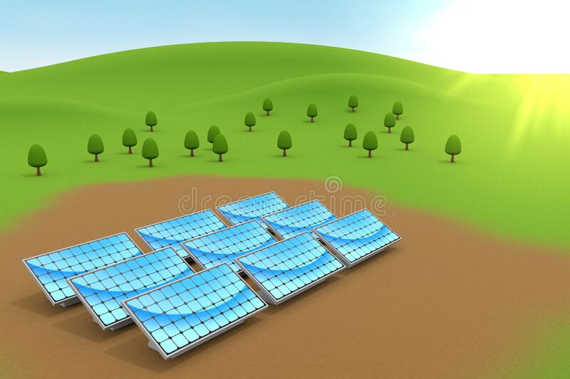 Installed solar panels. Nature and blue sky. 3D illustration stock illustration