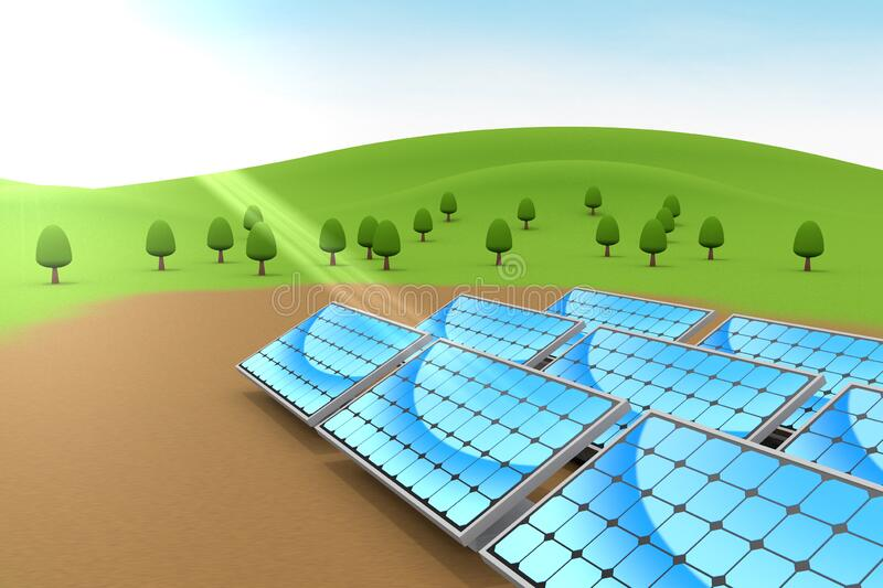 Installed solar panels. Nature and blue sky. 3D illustration royalty free illustration