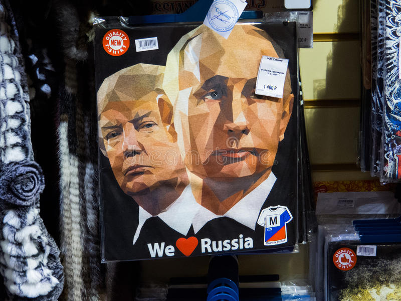 Putin and Trump. Souvenir T-shirts with Putin and Trump and the text `We love Russia stock photo