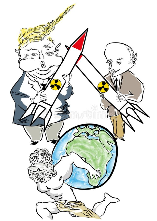 Putin vs Donald Trump Cartoon Caricature royaltyfri illustrationer