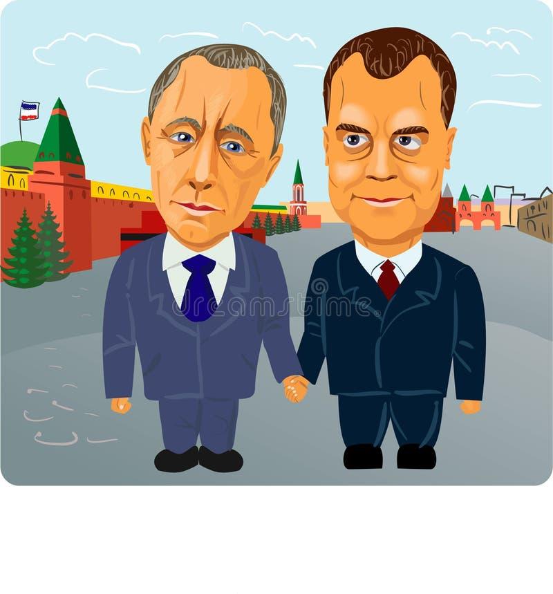 Putin y Medvedev ilustración del vector