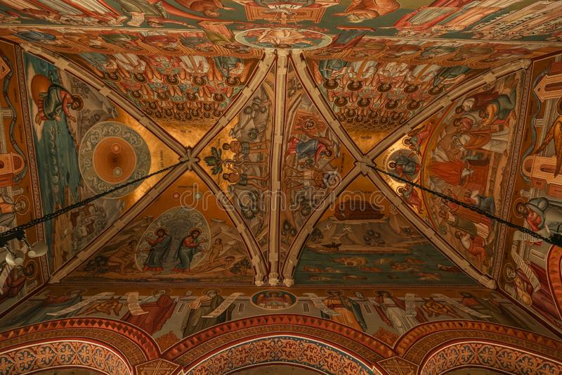 Putna修道院, Bucovina,罗马尼亚内部  免版税库存图片