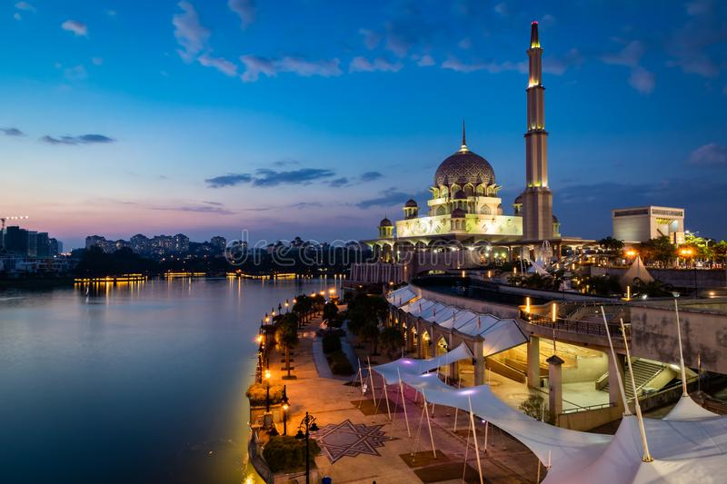 Putra Mosque during blue hour. Long Exposure royalty free stock images