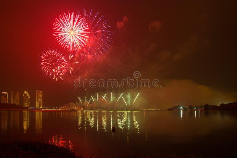 Putrajaya fajerwerków Międzynarodowa rywalizacja 2013 zdjęcia royalty free