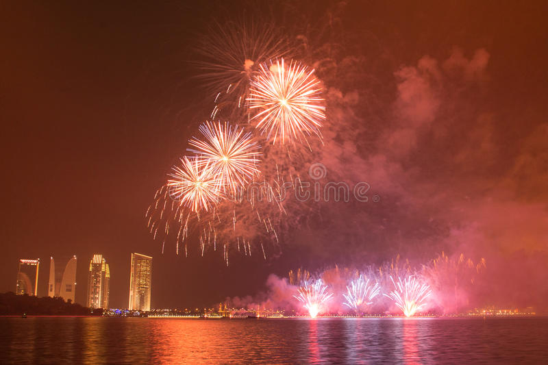 Putrajaya International Fireworks Competition 2013. The fireworks presentation by a group from Korea in conjunction with the Putrajaya International Fireworks stock photography