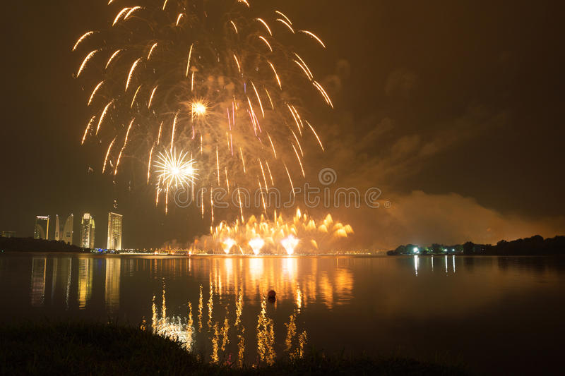 Putrajaya International Fireworks Competition 2013. The fireworks presentation by a group from Korea in conjunction with the Putrajaya International Fireworks royalty free stock photos